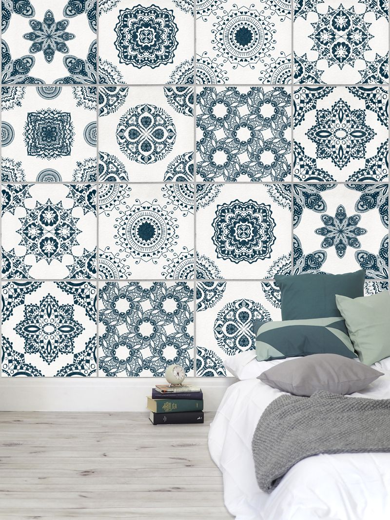Light Grey Portuguese Tile Wallpaper Salle de bain in 2019 800x1067