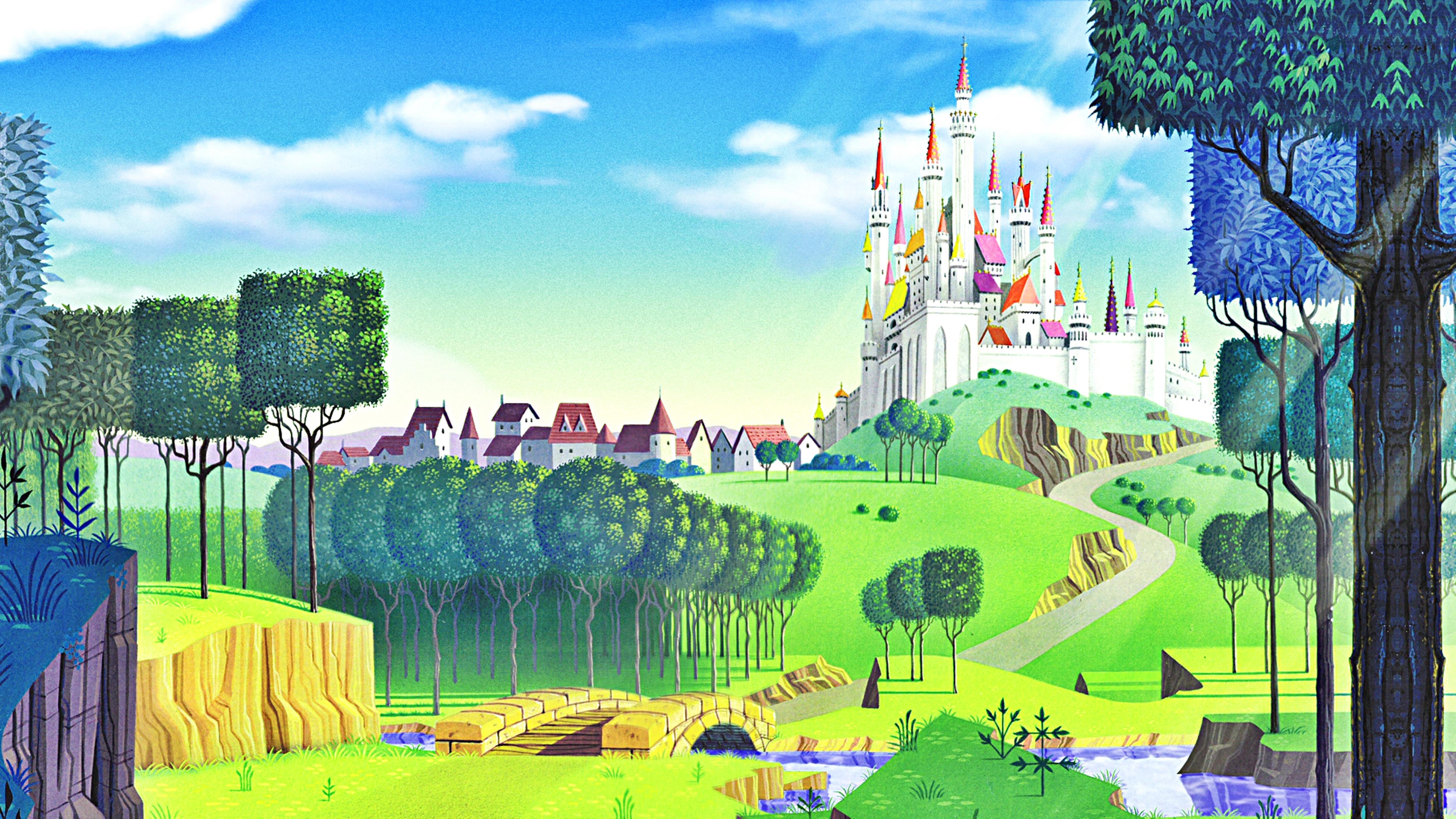 Disney princess castle wallpaper wallpapersafari for Castle mural wallpaper
