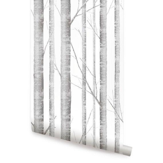 Birch Tree Peel Stick Fabric Wallpaper by AccentuWall on Etsy 4000 570x570