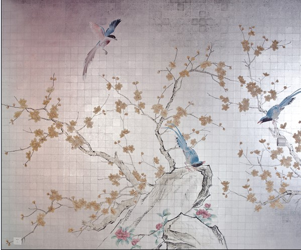 China Hand Painted Silk Wallpaper   China Hand Painted Silk Wallpaper 599x499