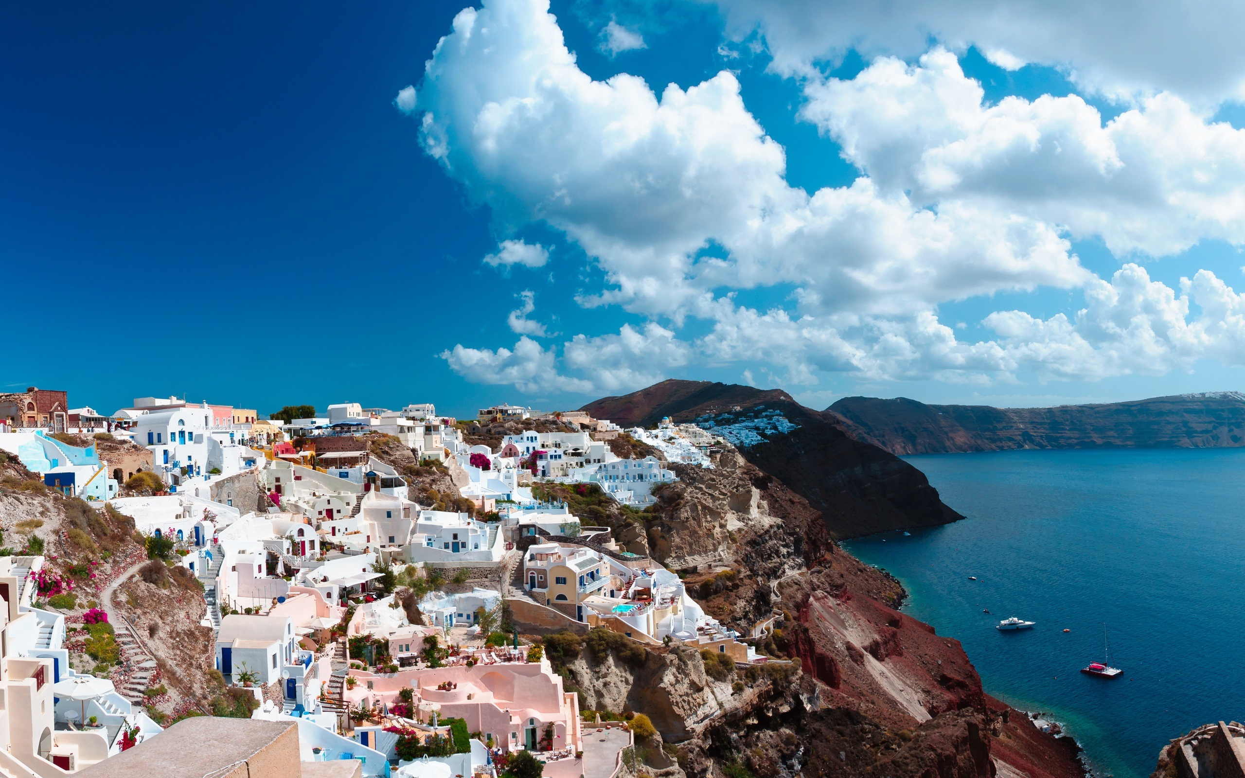 Wallpaper Santorini Greece island sea city houses 2560x1600 2560x1600