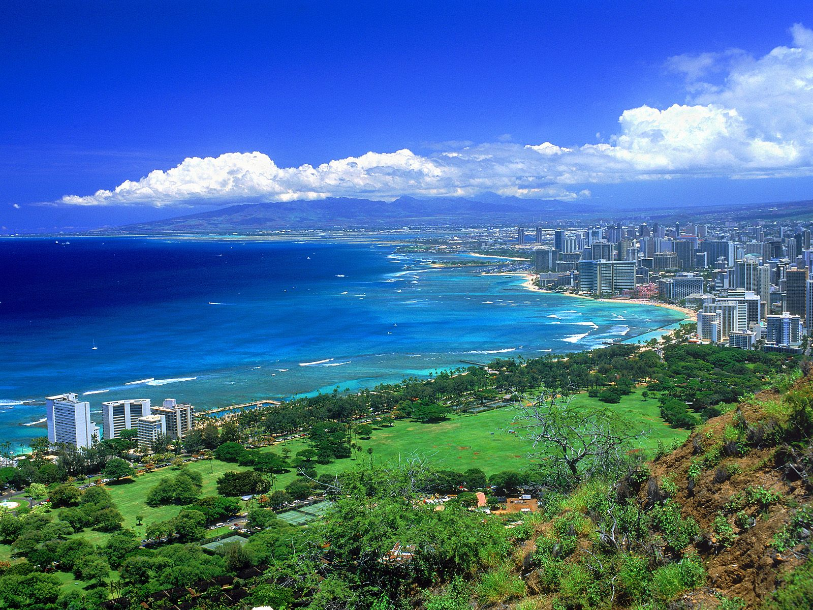 View From Diamond Head Oahu Hawaii World Wallpaper Collection 1600x1200