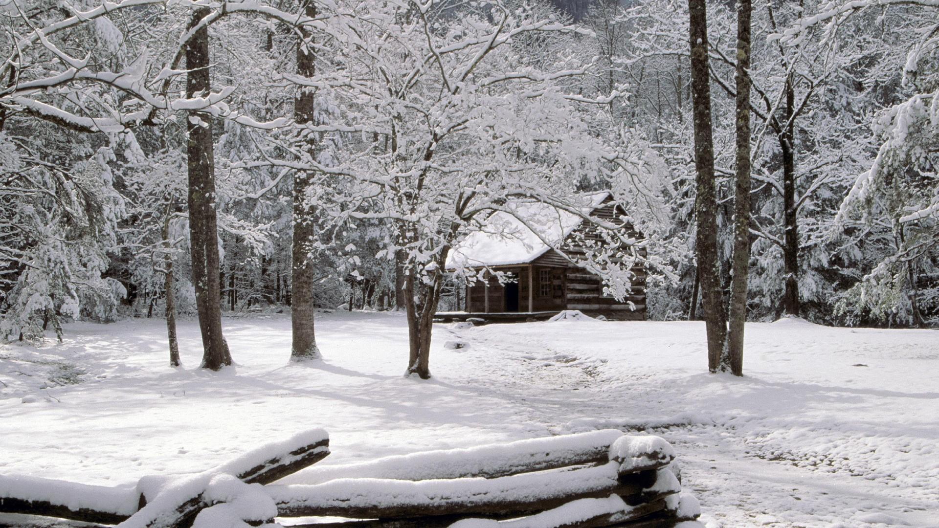 Desktop Wallpaper Winter Cabin in Woods 1920x1080