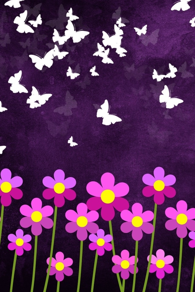 hd cute pink flowers and butterflys iphone 4s wallpapers backgrounds 640x960