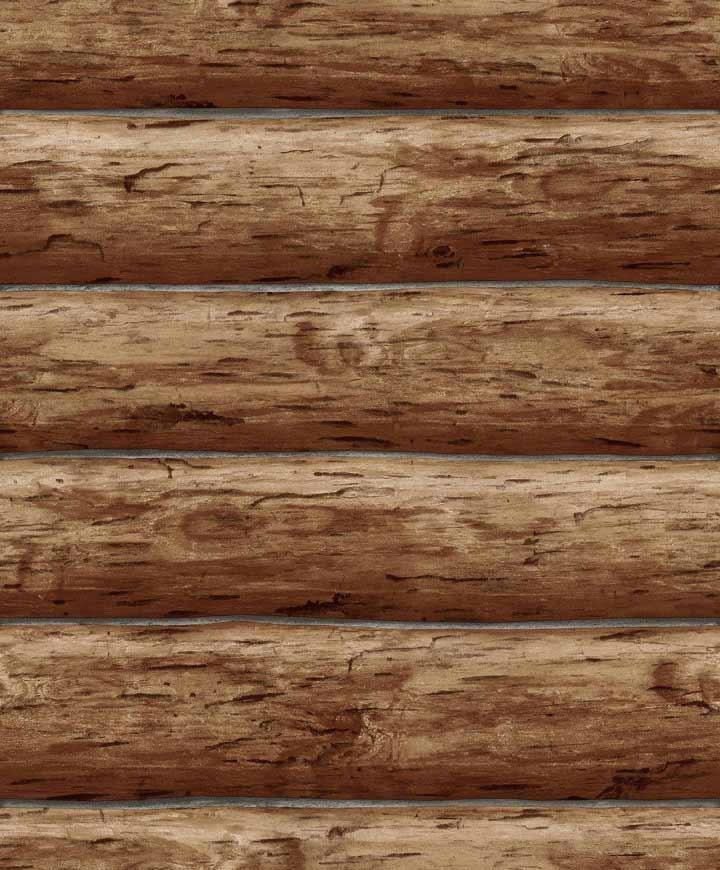 Details about Wallpaper Designer Rustic Log Cabin Brown Wood Log Wall 720x870