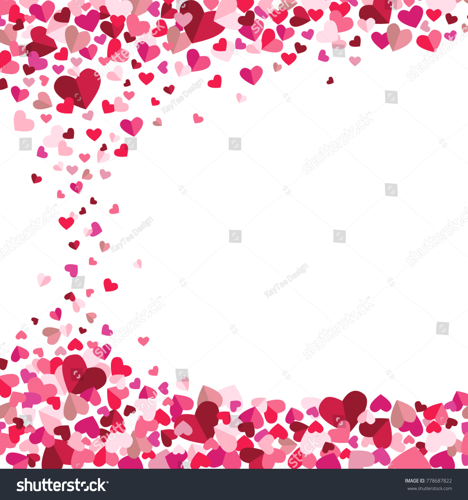Valentines Day Tumbling Floating Hearts Vector Stock Vector 1500x1600