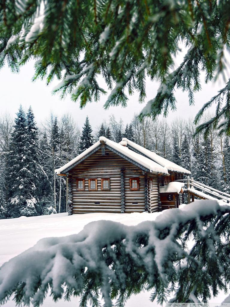 Mountain Retreat Winter Ultra HD Desktop Background Wallpaper for 768x1024