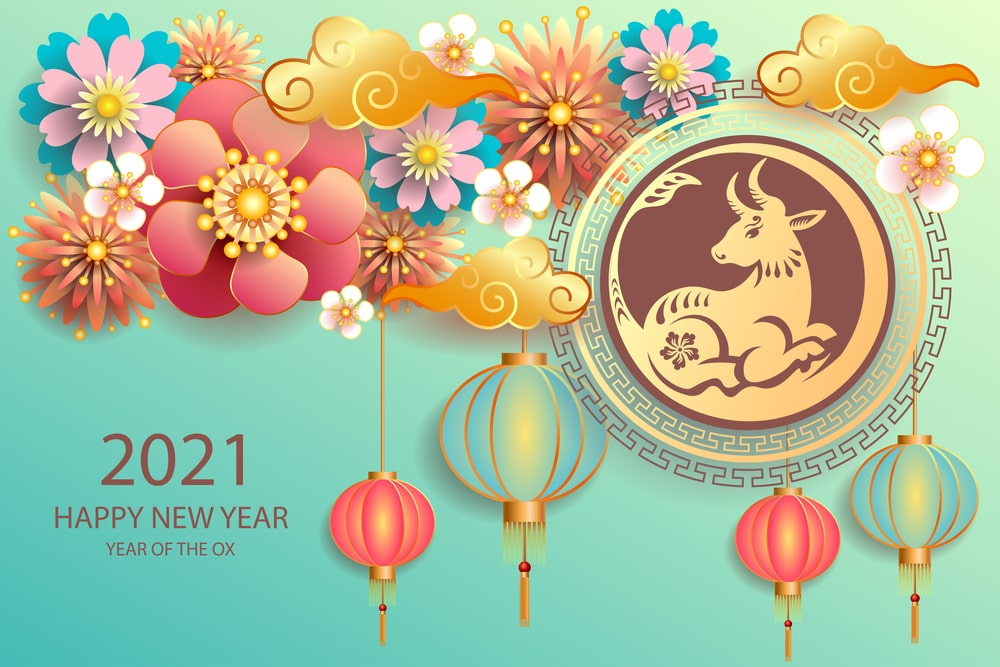 Chinese New Year 2021 Wallpaper Happy Year of Ox 2021 Cow Bull 1000x667