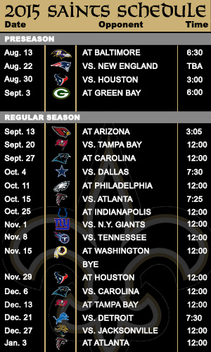Saints schedule more favorable in 2015 than a year ago   SportsNOLA 300x500