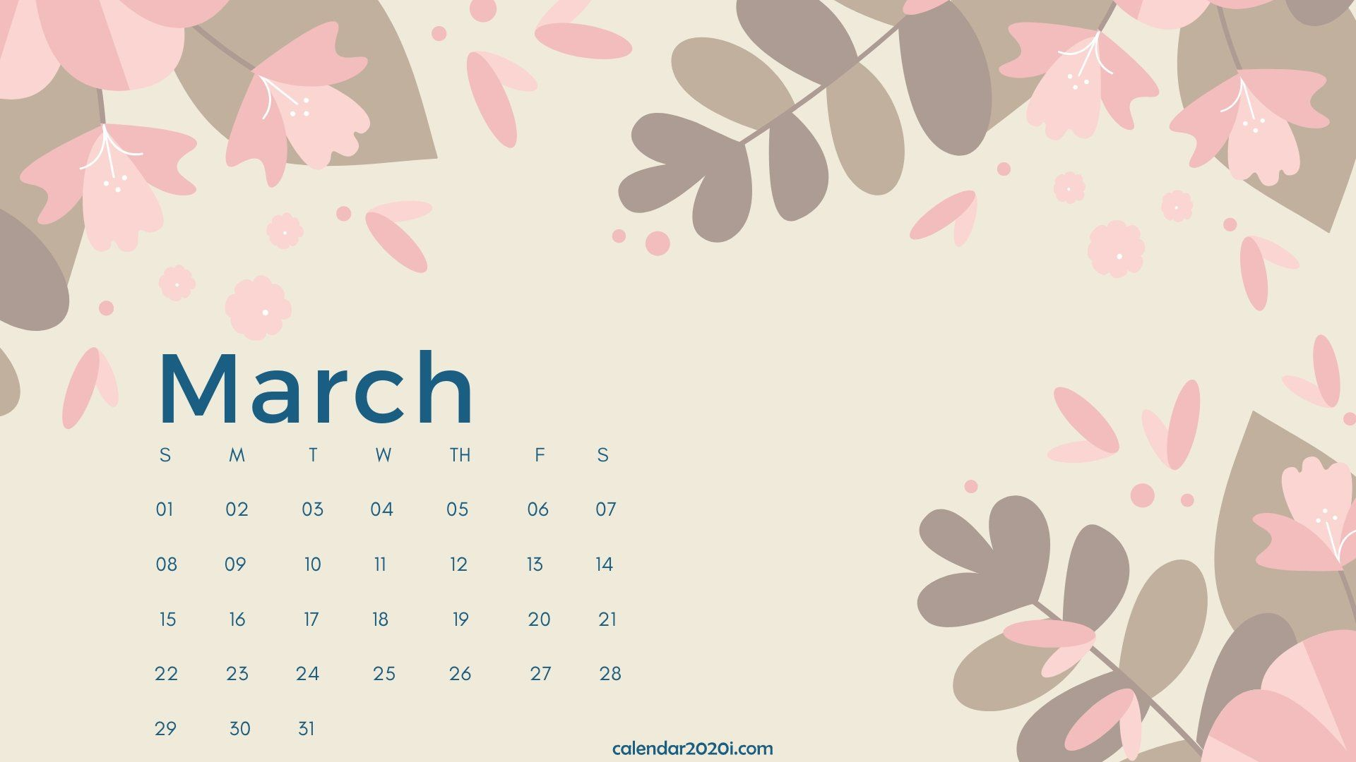 March 2020 Calendar Desktop Wallpaper 2020 Calendars Calendar 1920x1080
