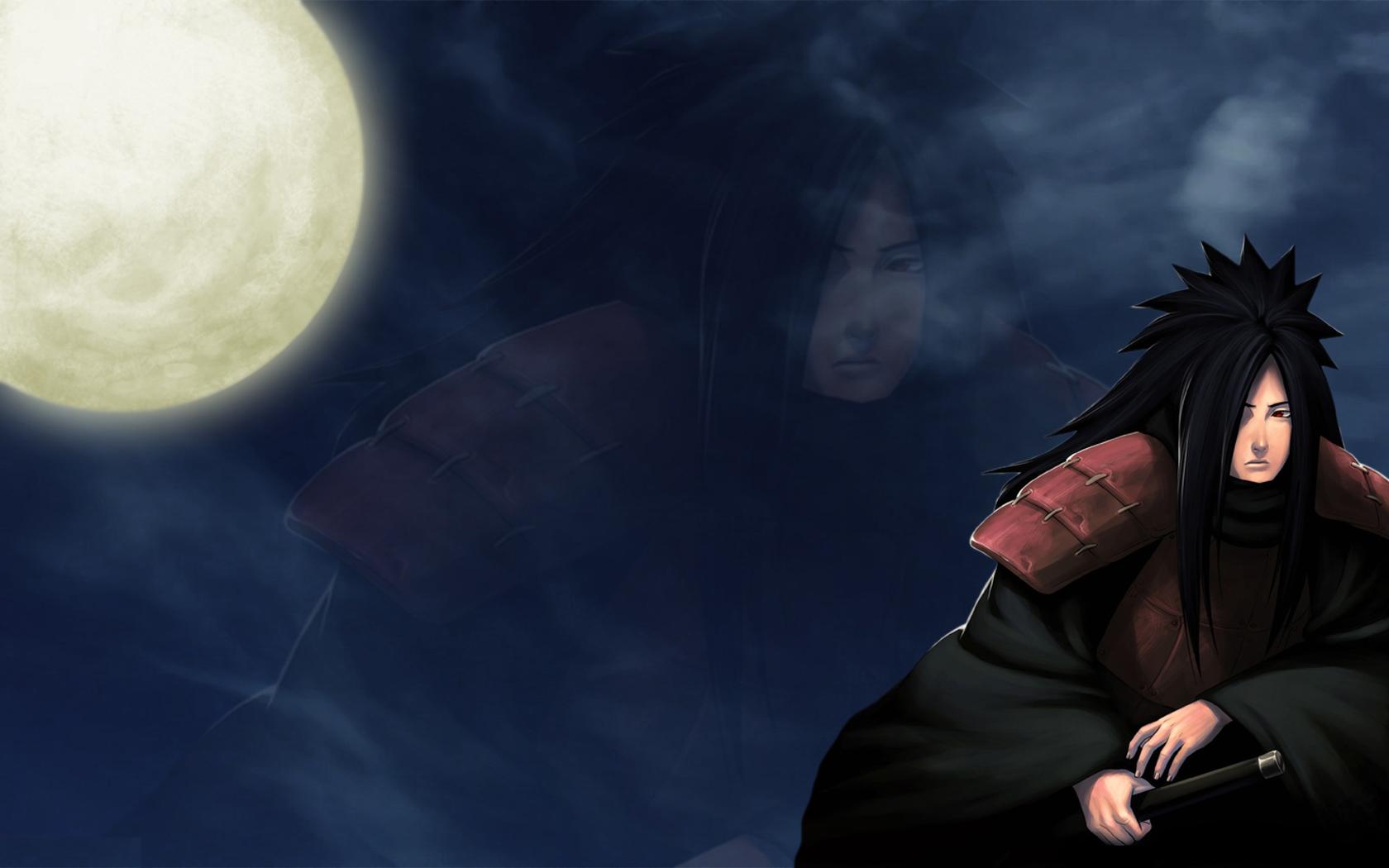 Clouds Moon Naruto Shippuden armor red eyes Uchiha Madara 1680x1050
