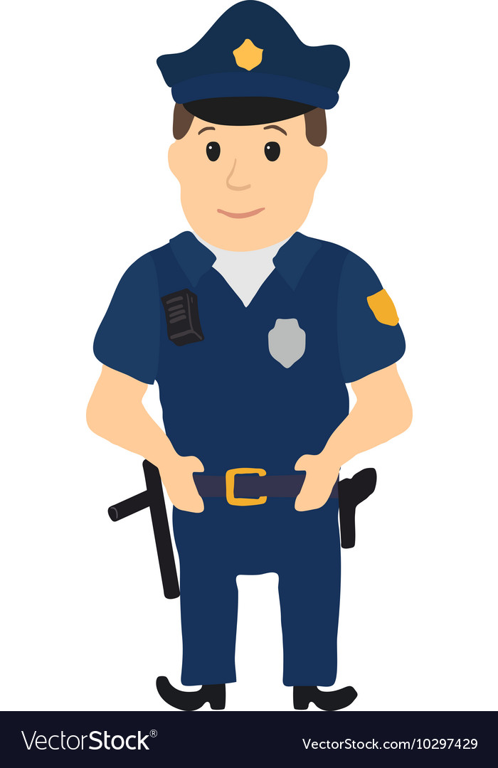 Cartoon policeman character on white background Vector Image 700x1080