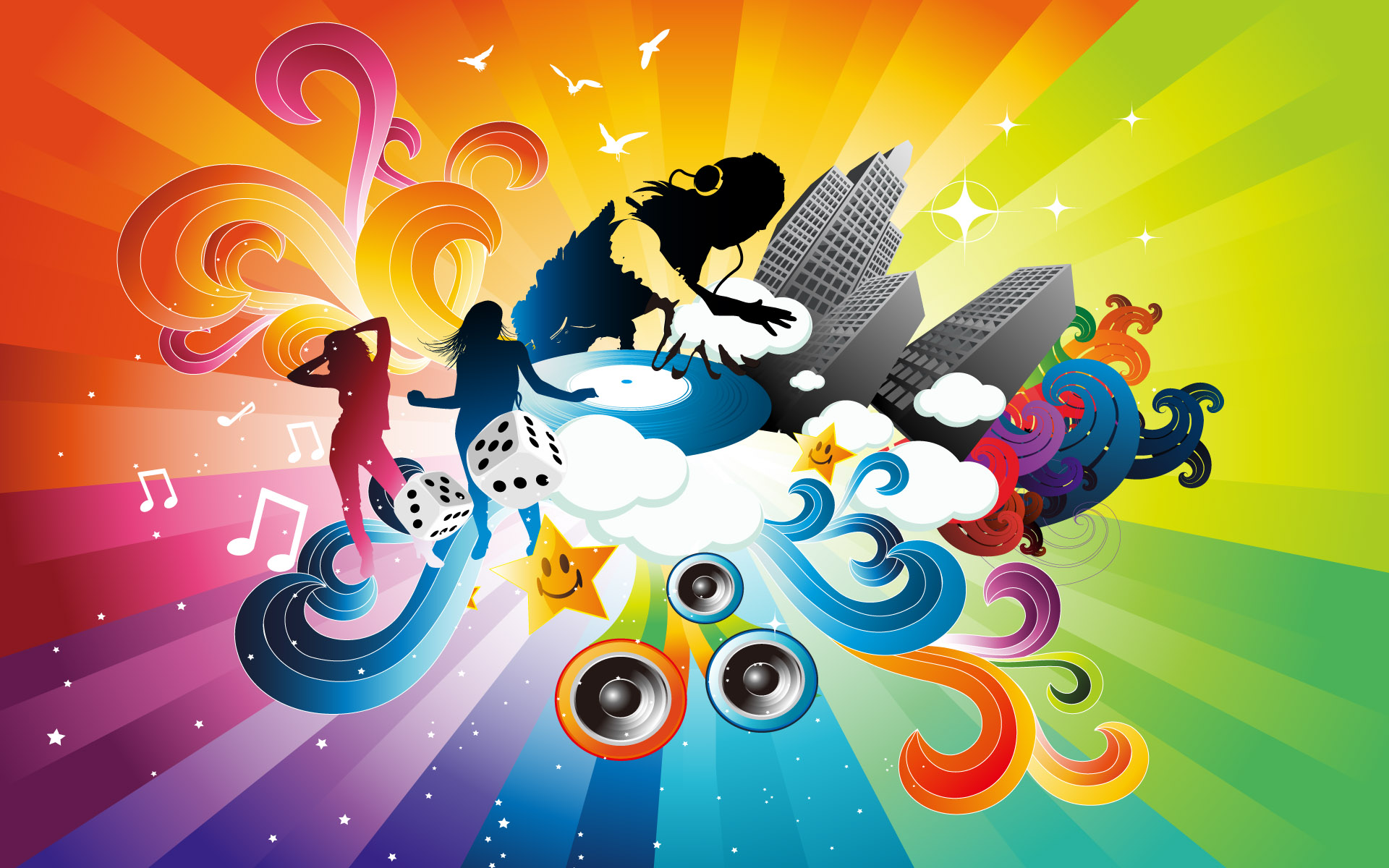 DJ Music 3D Colorful HD wallpapers 1920x1200