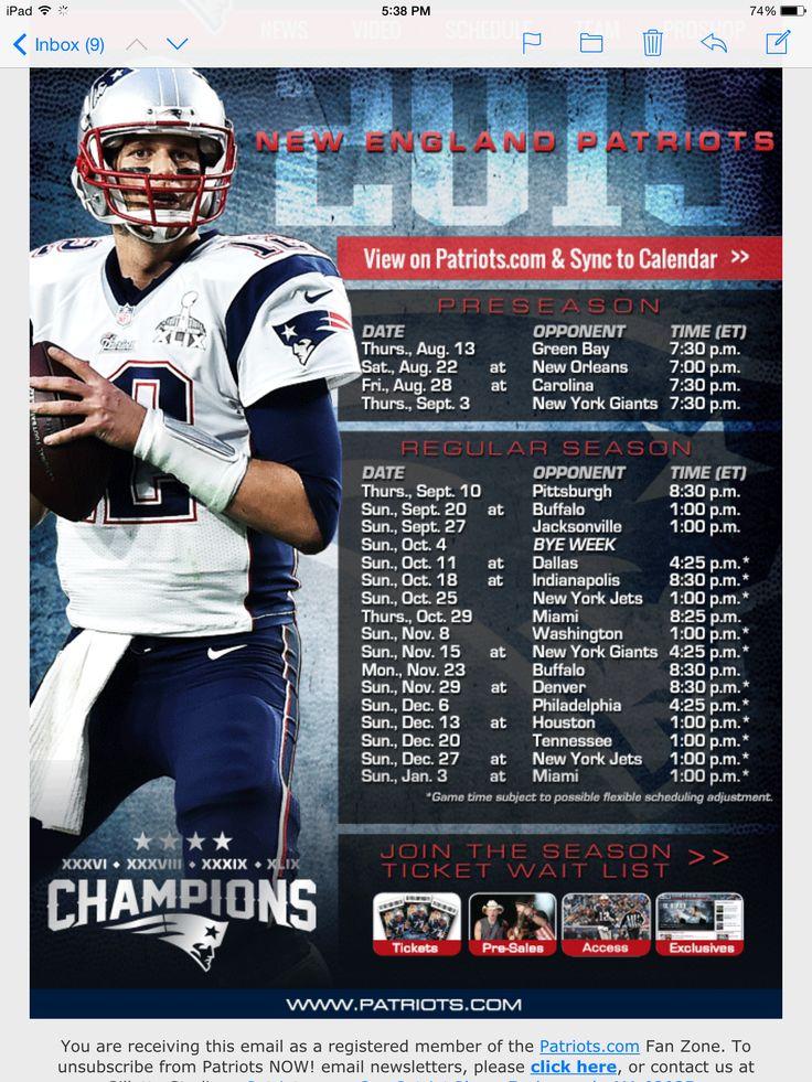 Patriots 2015 2016 Schedule Patriots Pinterest Patriots Schedule 736x981