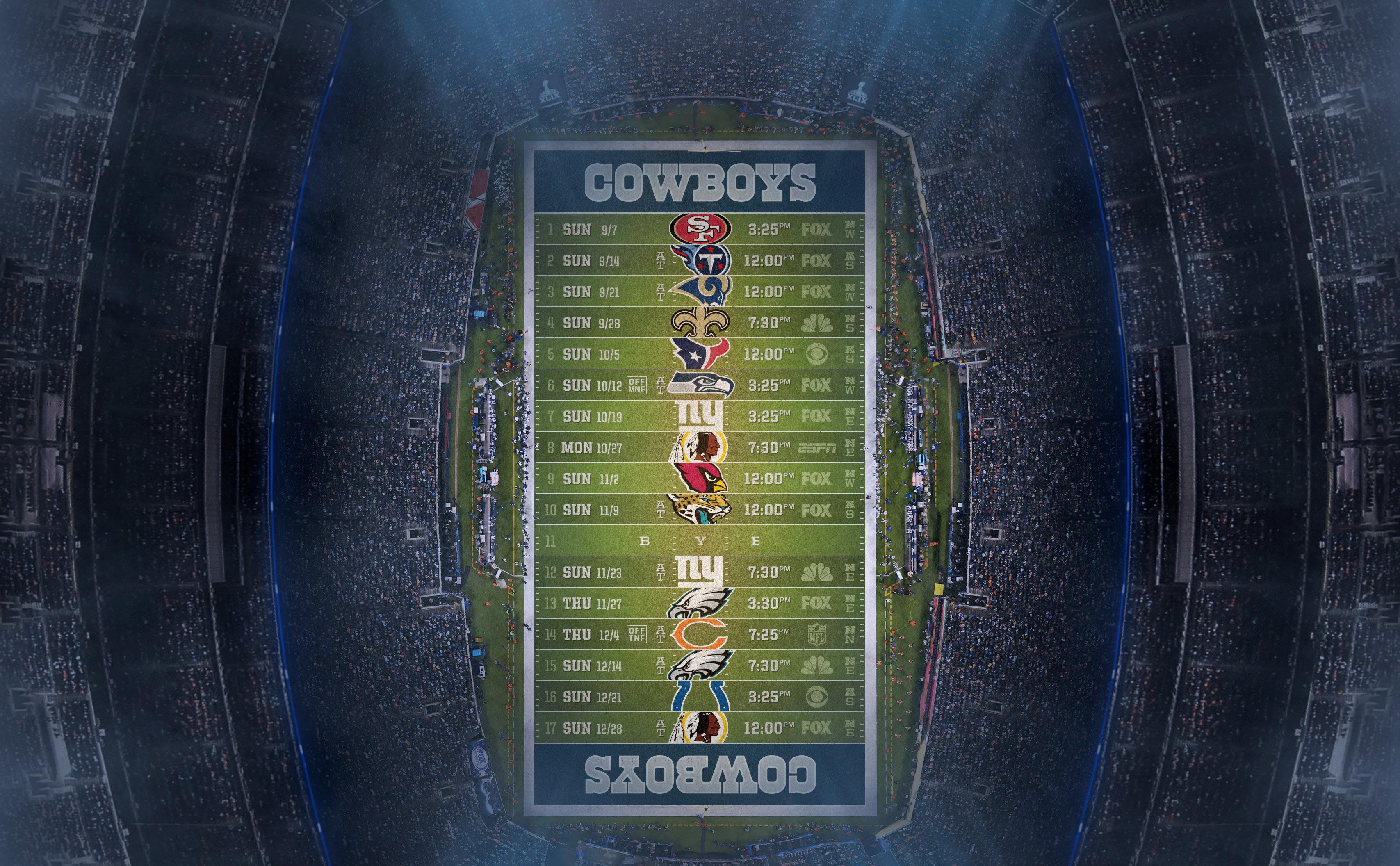Dallas Cowboys Wallpaper 2014 Players cowboys 2015 schedule wallpaper 3414x2112