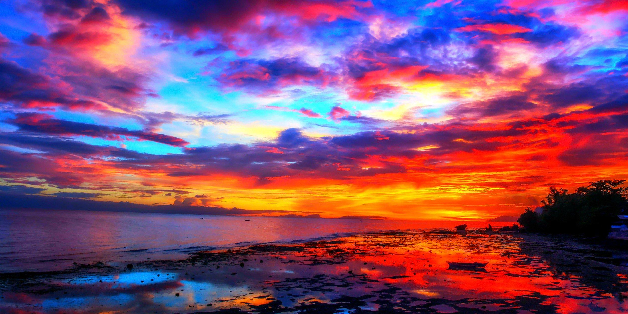 картинки разноцветный закат