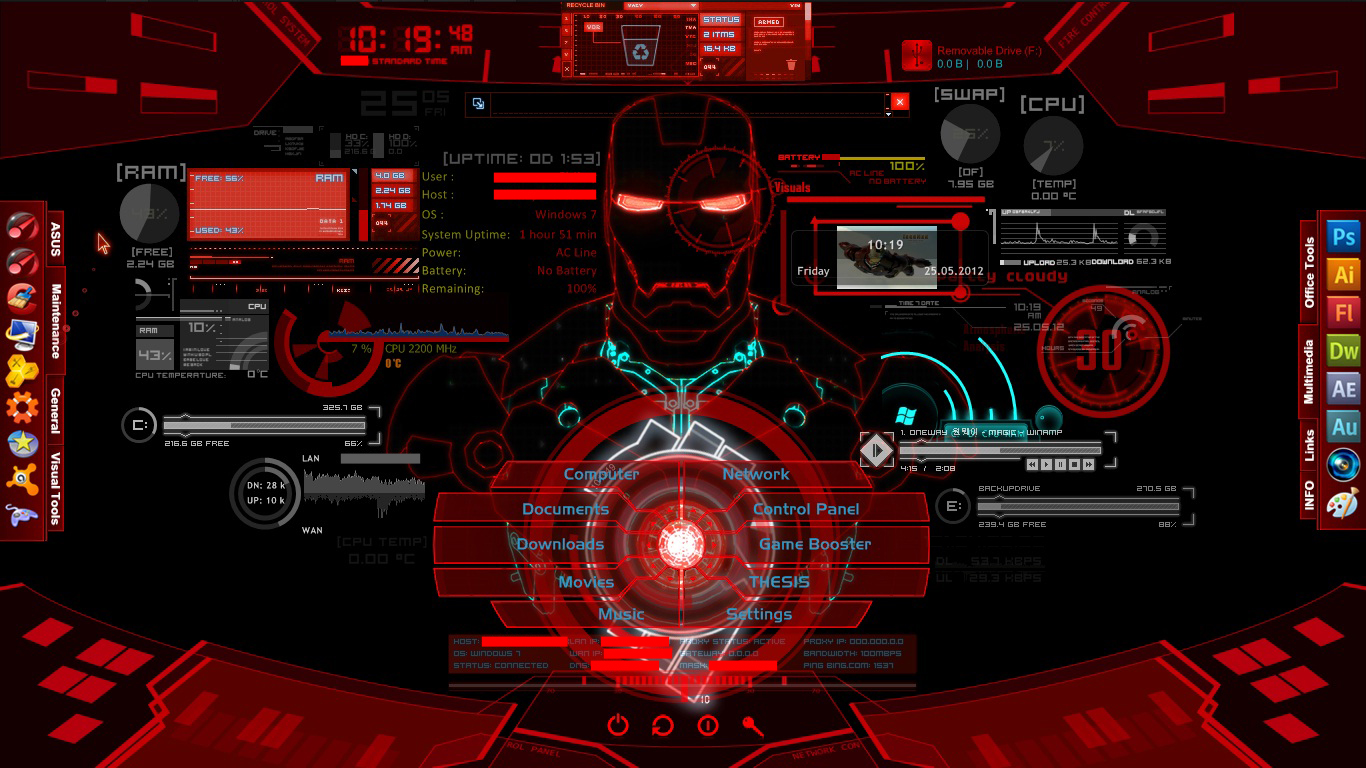 Iron Man JARVIS   Project Red by asusk43sdj 1366x768