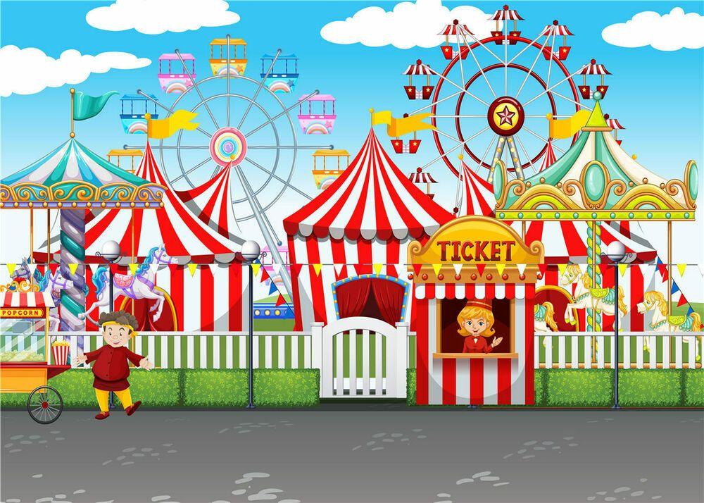 Cartoon Amusement Park Ferris Wheel Backdrop Circus Carnival Kids 1000x714
