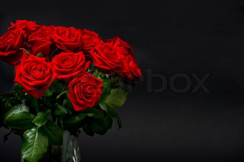Stock Bild von red roses on black background 800x532