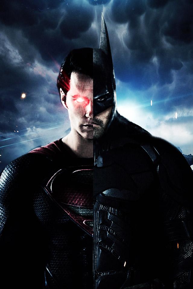 FREEIOS7 batman superman half   parallax HD iPhone iPad wallpaper 640x960