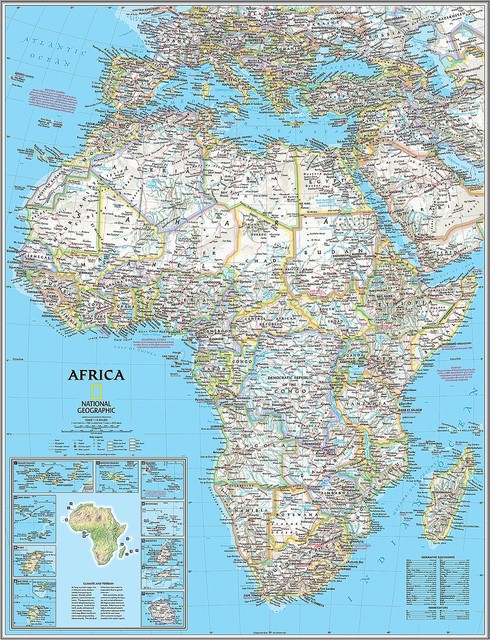 Classic Africa Map Wall Mural    Self Adhesive Wallpaper in Various 490x640