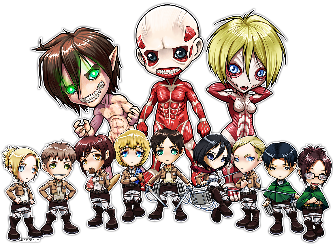 Attack on Titan Chibi Group by ghostfire 1155x863
