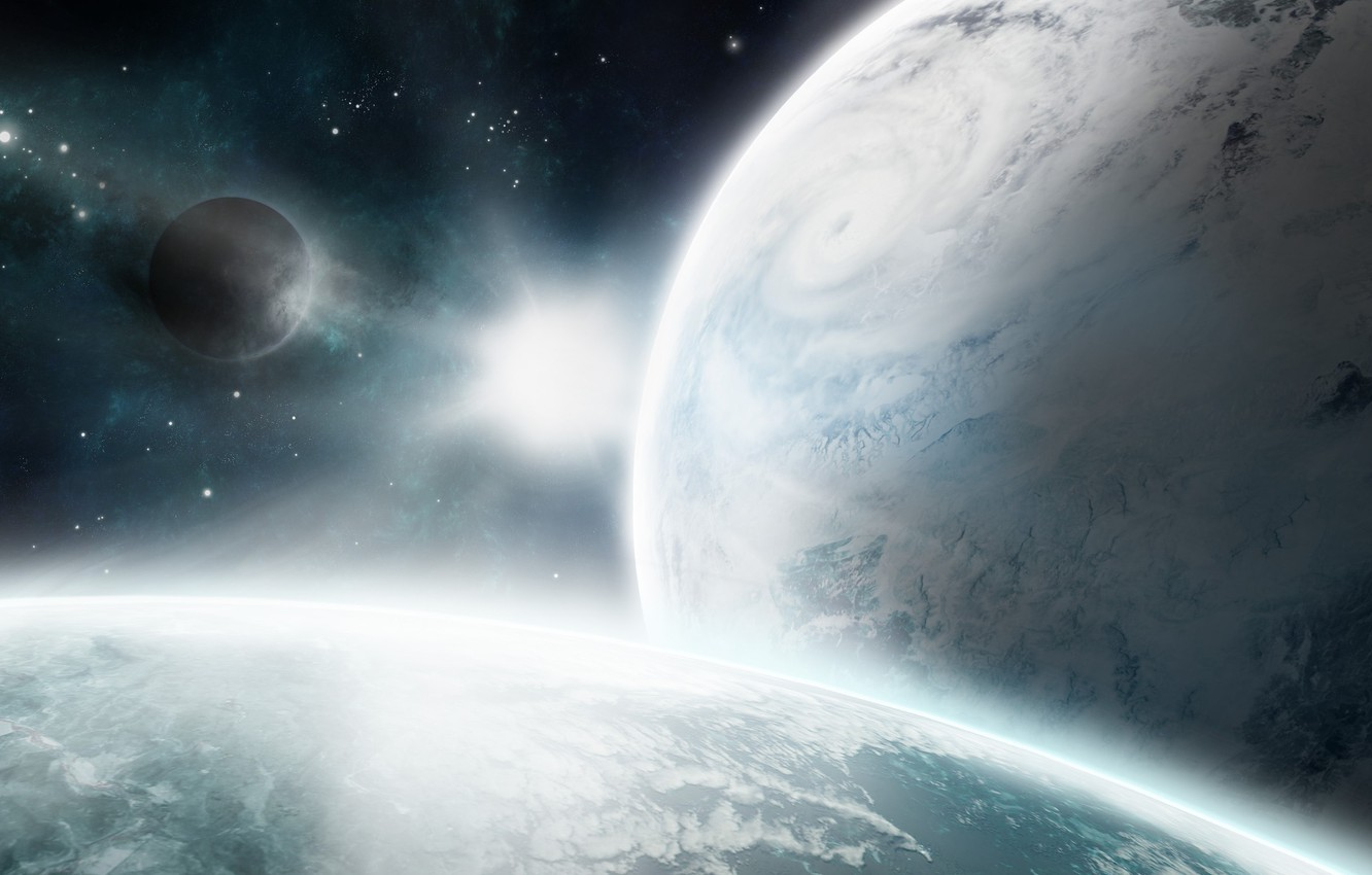 Wallpaper space star planet satellite the atmosphere cyclone 1332x850