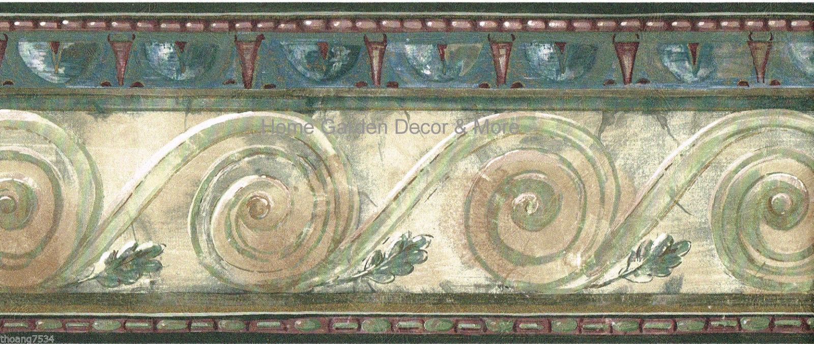 blue scroll leaf wall paper border crown molding scroll leaf wallpaper 1600x677