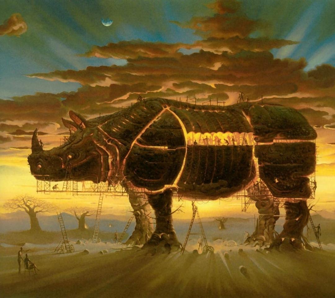 rhinoceros artwork vladimir kush 1280x1022 wallpaper Art HD Wallpaper 1080x960