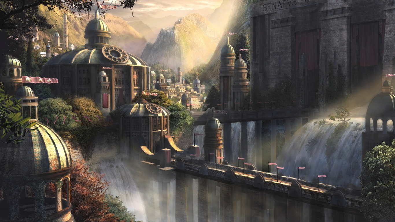 Wallpaper city castle palace bridge waterfall mountains trees 1366x768