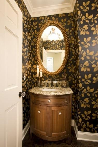 wallpaper for small bathroom powder room love it Pinterest 379x569