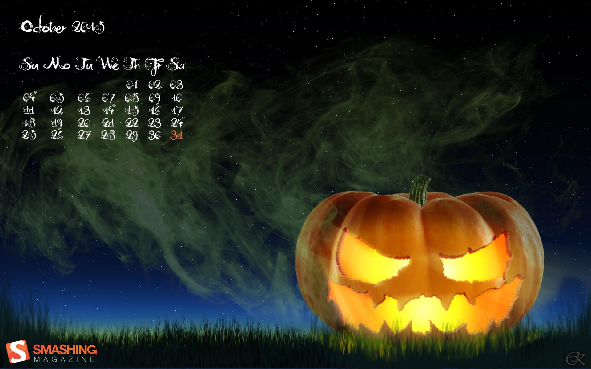 Creepy Pumpkin Desktop Calendars Wallpapers October 2015 1920x1200