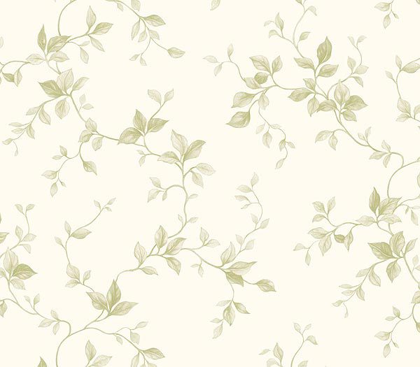 Green on White Leaf Ivy Toile Wallpaper 600x525