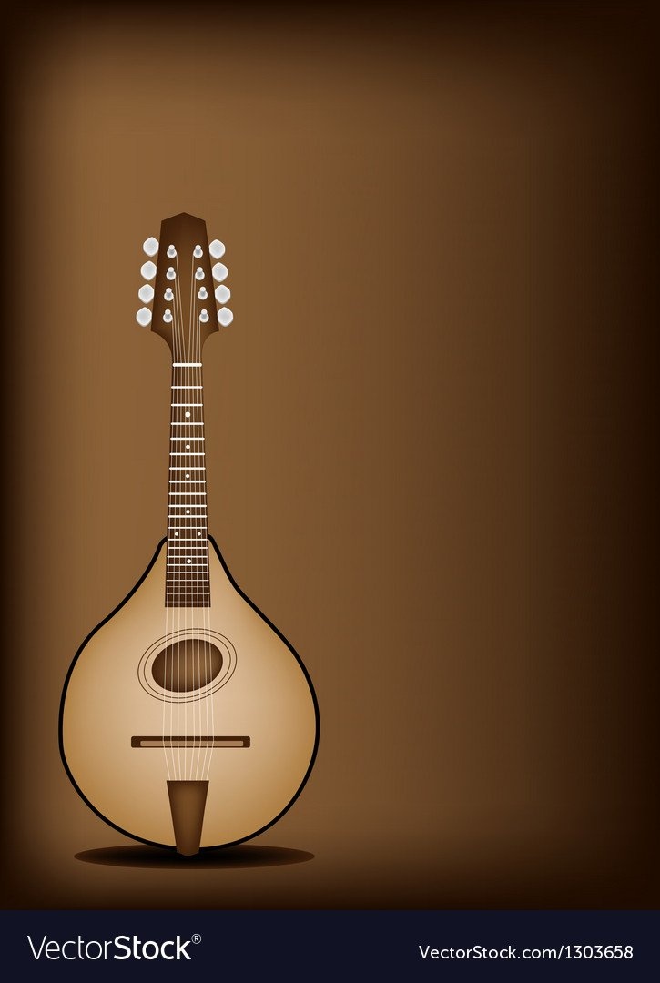 Antique Mandolin on Dark Brown Background Vector Image 725x1080