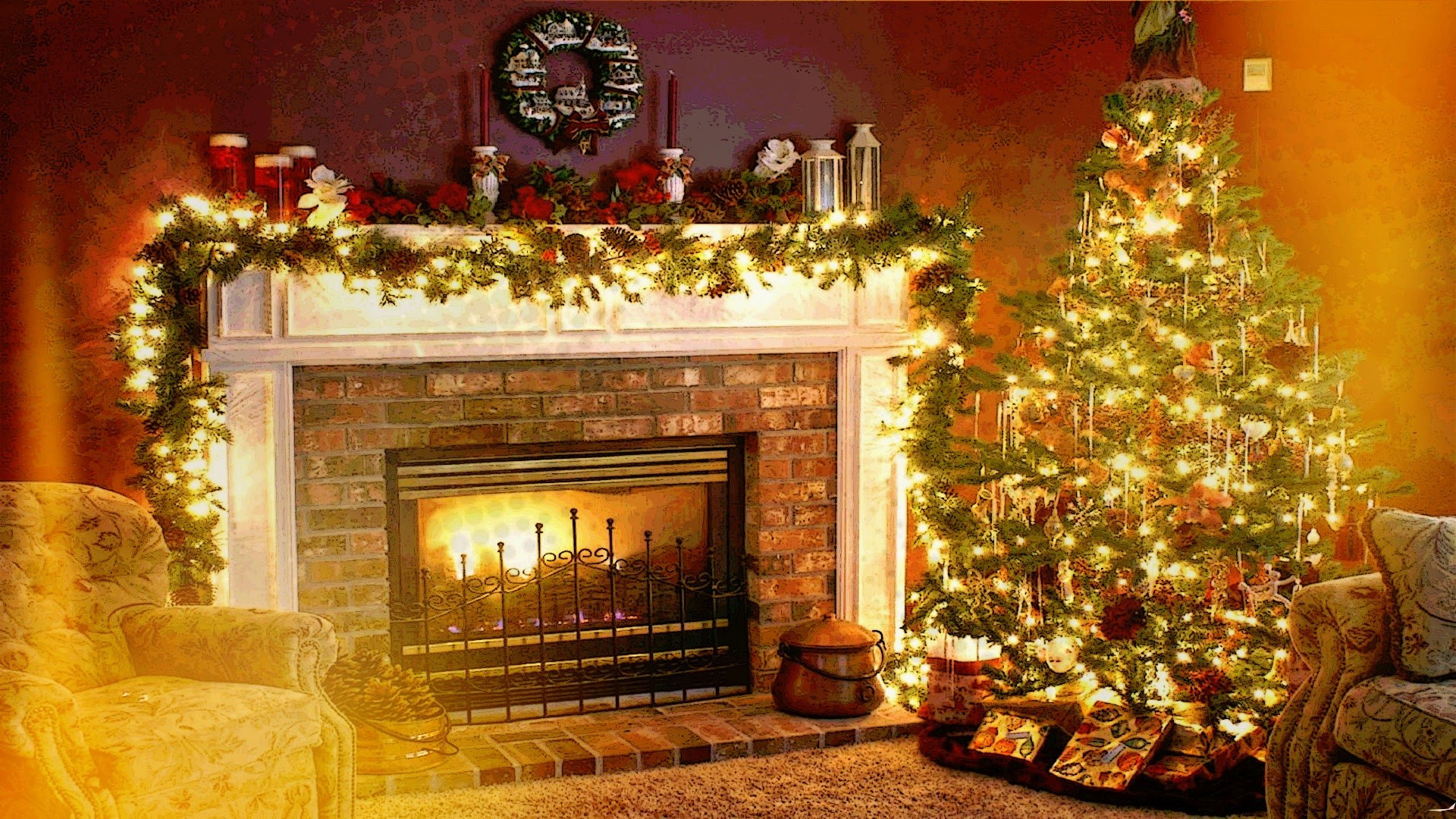 Christmas Holiday Fireplace Interiors Welcome Home Wallpapers 1920x1080