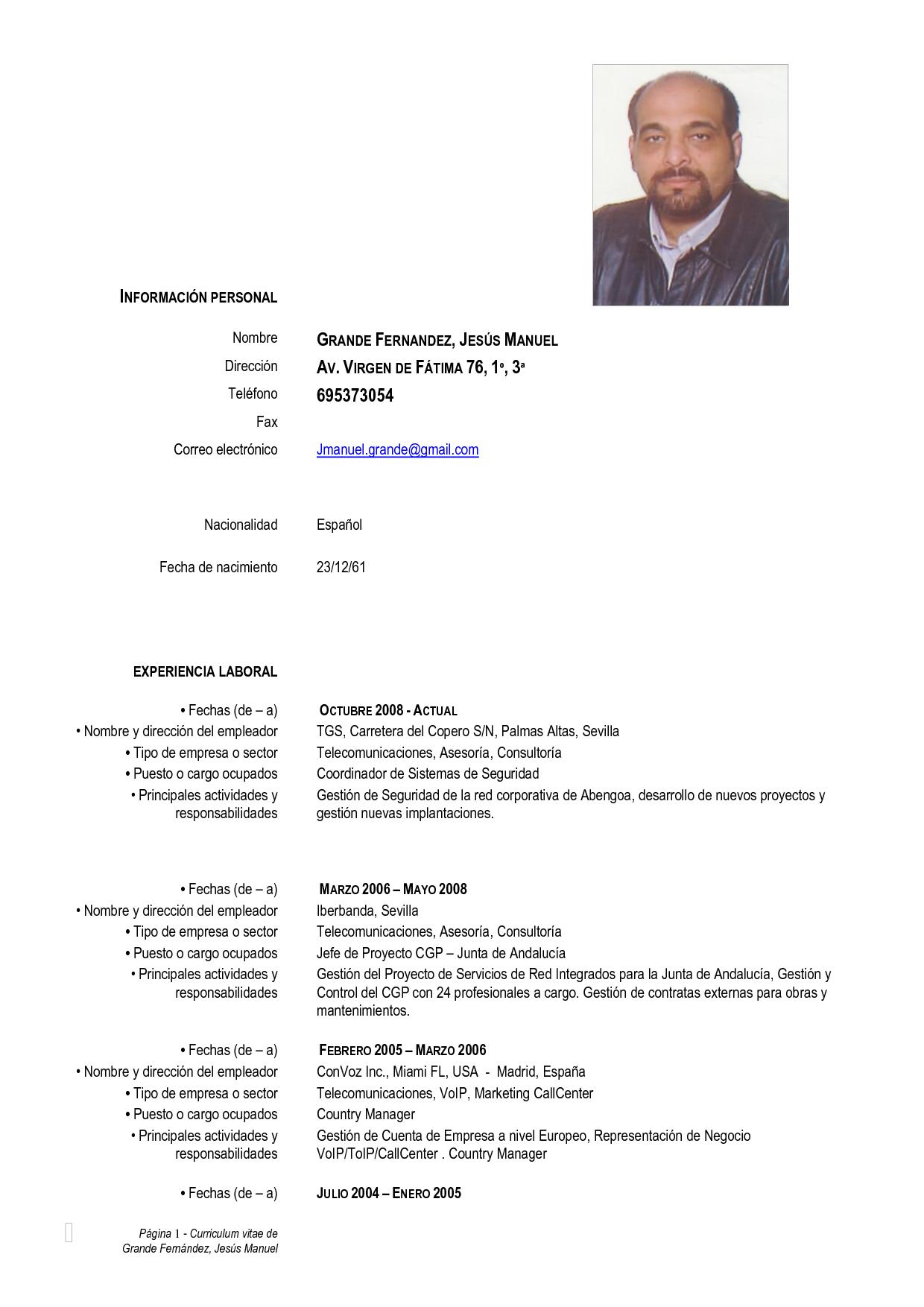 Curriculum vitae modelo empresarial