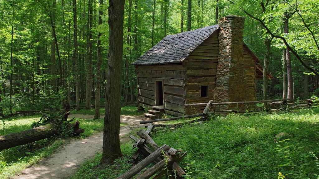 Nature Trail Dressed Log Cabin HD Wallpaper Desktop Great Smoky 1024x576