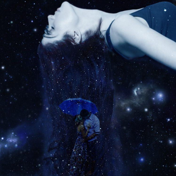 love Umbrella Space Stars Kissing Universe Sleeping HD 748x748