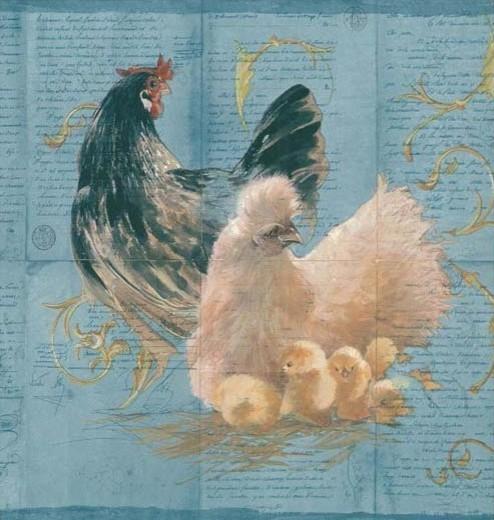 Blue Hens Rooster Wallpaper Border   Rustic   Wallpaper   philadelphia 494x520