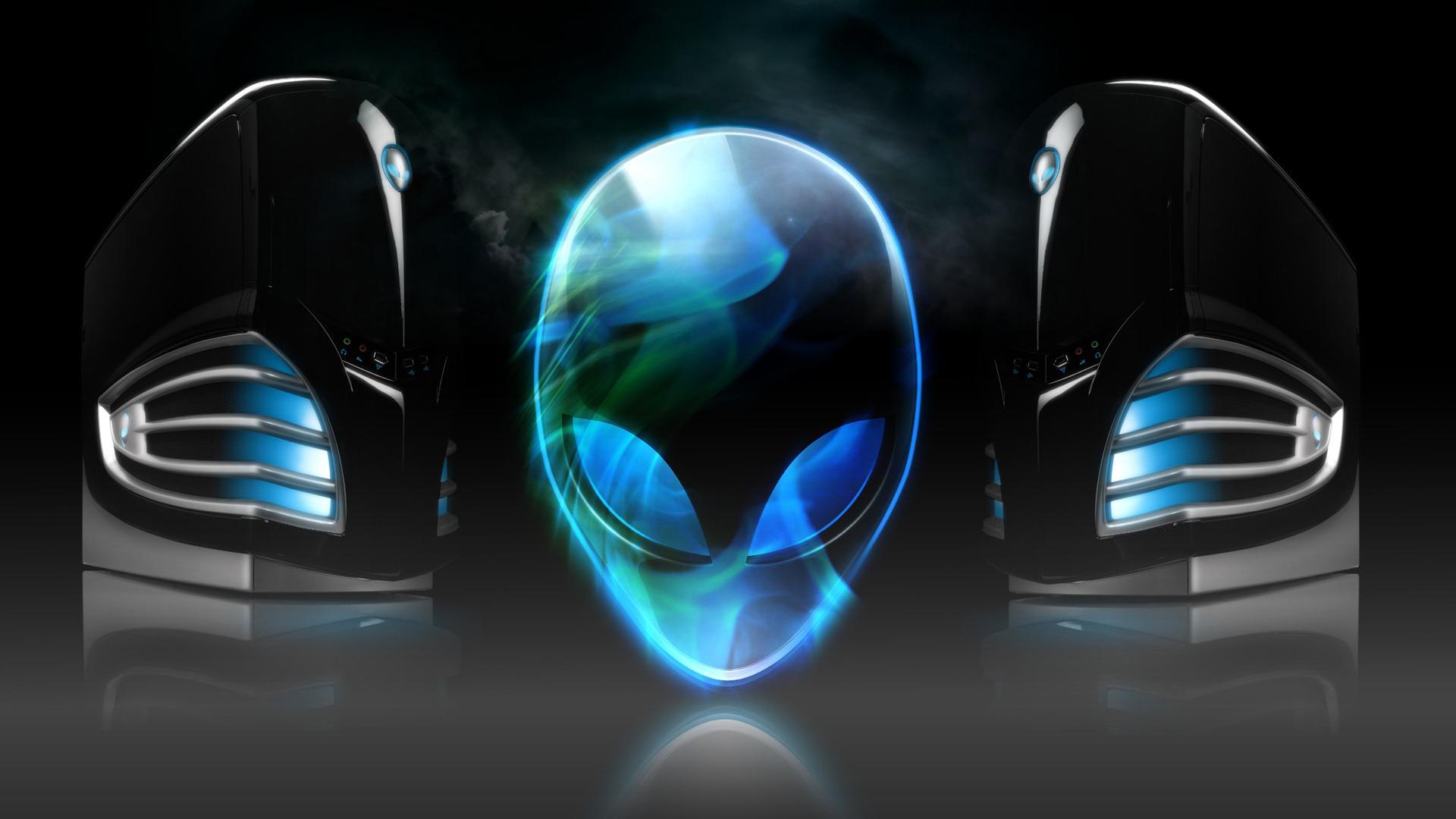 alienware dark blue logo background hd 1920x1080 1080p wallpaper 1920x1080