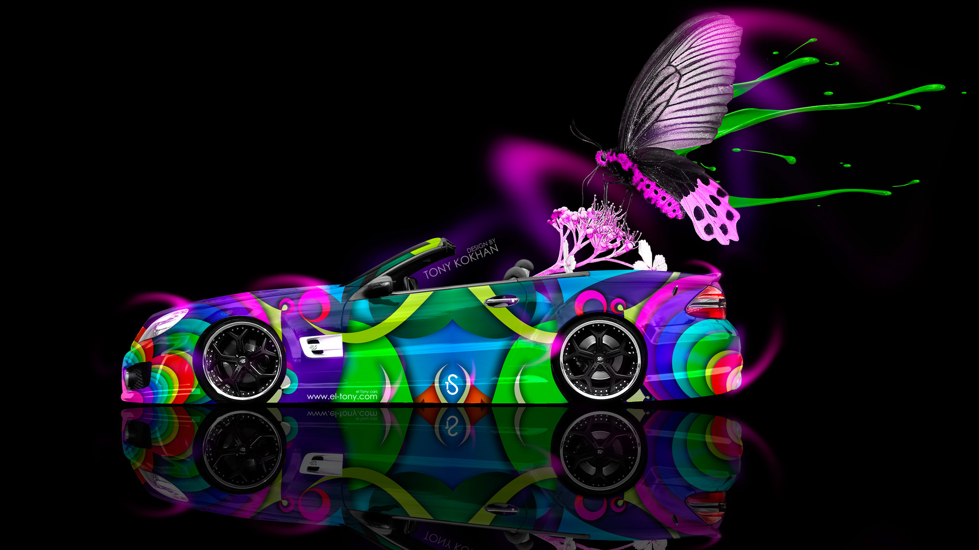 flowers butterfly car 2014 art blue neon colors hd wallpapers design 1920x1080