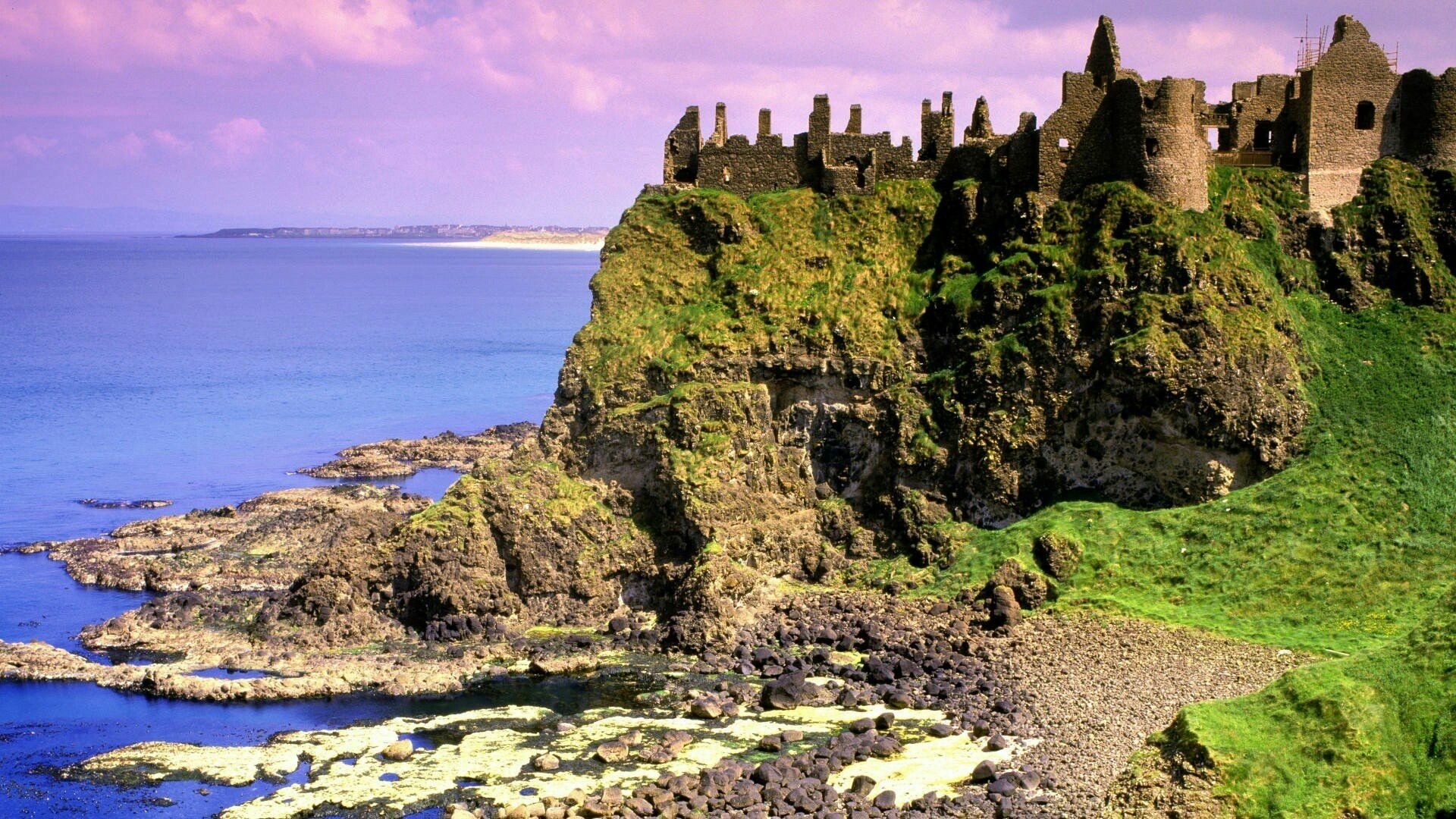 Dunluce Castle and the northern coastline Co Antrim Northern 1920x1080