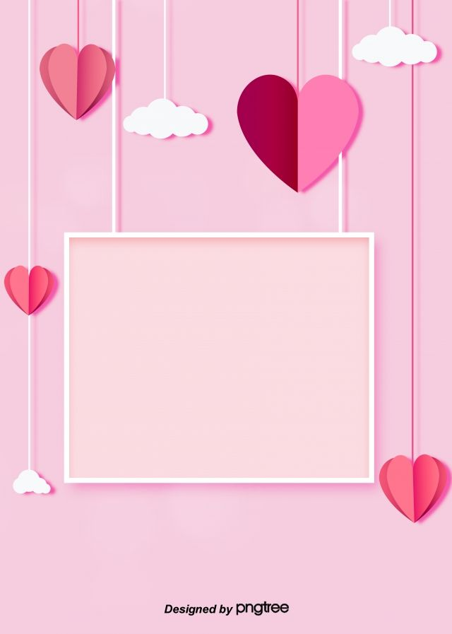 Simple Sweet Pink Love Clouds Framed To Decorate The Background Of 640x897