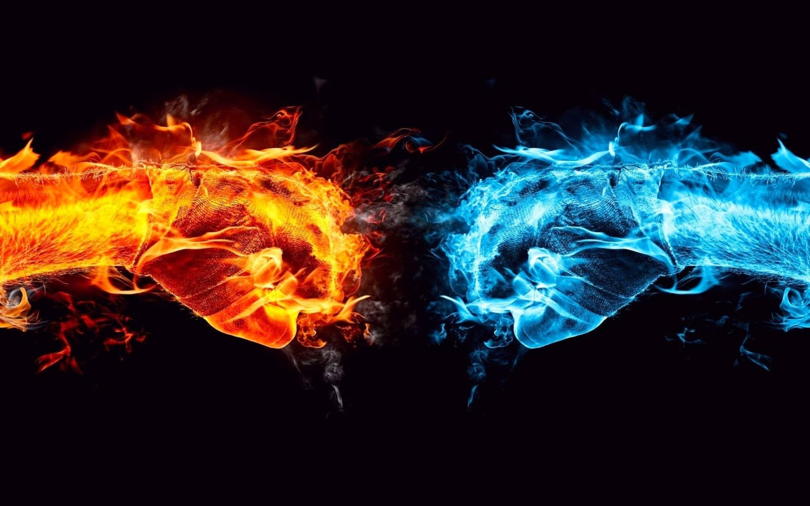 Blue And Red Fire Wallpaper 1600x1000