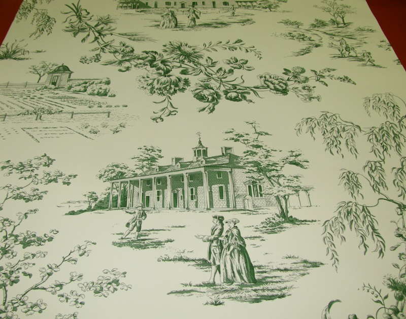 HINSON AND CO GREEN TOILE WALLPAPER   TRIPLE ROLLS [280808600783 800x629