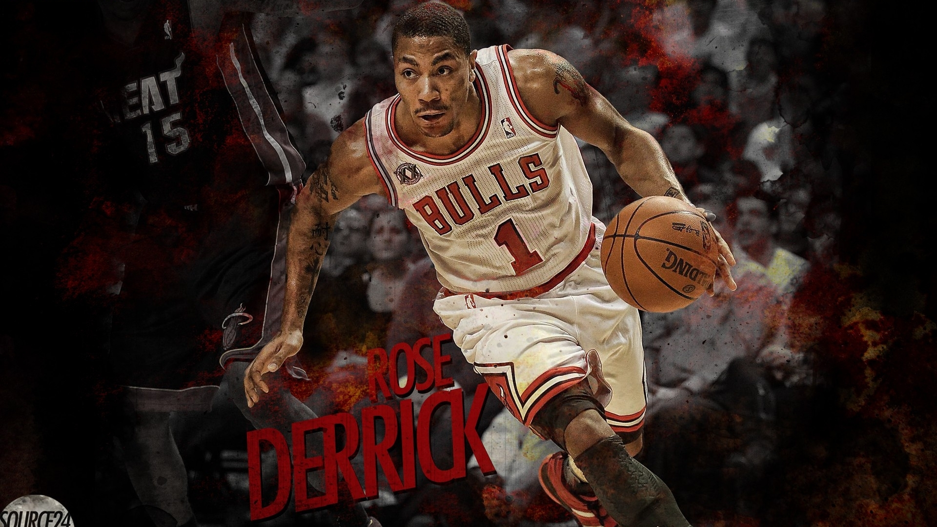 Derrick Rose playing basketball wallpaper in Sports wallpapers 1920x1080