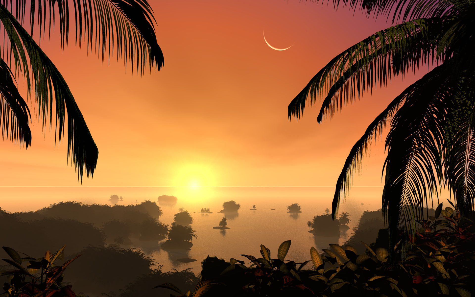 Sunset on a tropical island wallpaper 7206 1920x1200