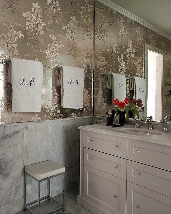 Metallic Wallpaper     Transitional   bathroom   Nuevo Estilo 592x740