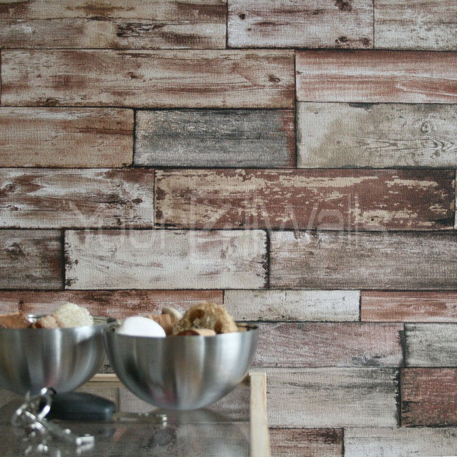 Wood Scrapwood Reclaimed Wood Wallpaper Beige Brown Tones Striped Wood 900x900