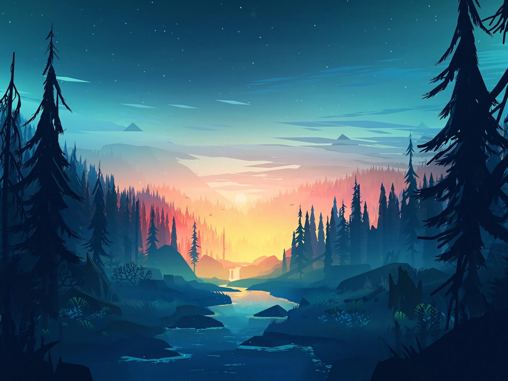 Download 2048x1536 Flat Landscape Minimalism Trees Sunset 2048x1536